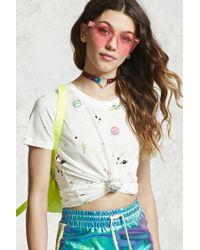 Forever 21 | White Slub Knit Space Print Tee | Lyst