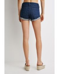 Forever 21 - Blue Mineral Wash Cuffed Denim Shorts - Lyst