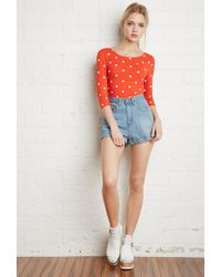Forever 21 | Red Polka Dot Print Top | Lyst