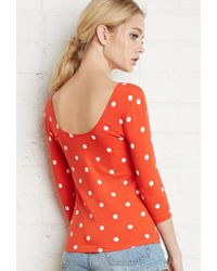 Forever 21 - Red Polka Dot Print Top - Lyst