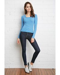 Forever 21 | Blue Ribbed Stripe Top | Lyst