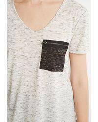 Forever 21 - Natural Contemporary Marled Pocket V-neck Tee - Lyst