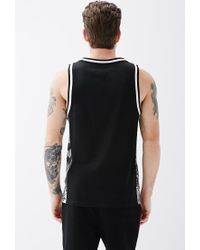 Forever 21 - Black Abstract Print-paneled Mesh Tank for Men - Lyst