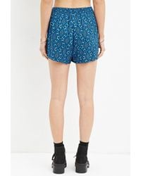 Forever 21 - Blue Geo Print Drawstring Shorts - Lyst