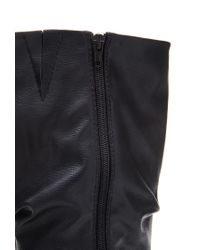 Forever 21 | Black Slouchy Faux Leather Boots | Lyst