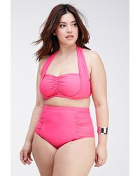 Forever 21 | Pink Plus Size Ruched High-waisted Bikini Bottom | Lyst