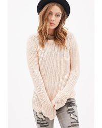 Forever 21 | Pink Purl Knit Sweater | Lyst