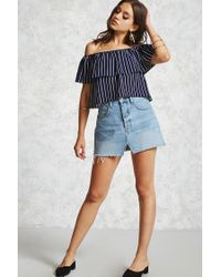 Forever 21   Blue Striped Off-the-shoulder Top   Lyst