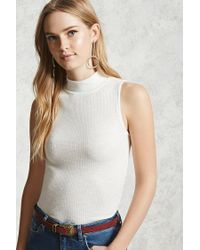 Forever 21 - White Mock Neck Ribbed Tank Top - Lyst