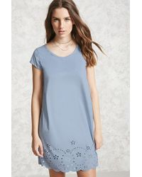 Forever 21 | Blue Faux Suede Eyelet Dress | Lyst