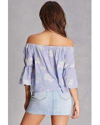 Forever 21 - Blue Lust Off-the-shoulder Top - Lyst