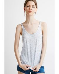 Forever 21 - Blue Marled Knit Pleated-back Tank - Lyst