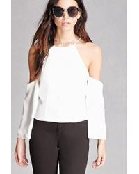 Forever 21 | White Zippered Open-shoulder Top | Lyst