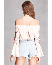 Forever 21 - Pink Floral Off-the-shoulder Top - Lyst