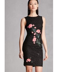 Forever 21 | Black Floral Embroidered Crochet Dress | Lyst