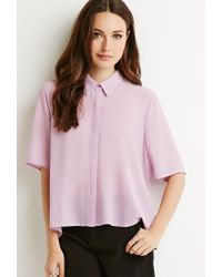 Forever 21 | Purple Contemporary Pleated-back Crepe Shirt | Lyst