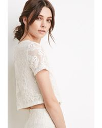 Forever 21 - Natural Ornate Embroidered Mesh Top - Lyst