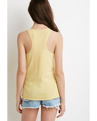Forever 21 | Yellow Heathered Knit Tank | Lyst