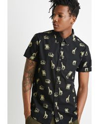 Forever 21 | Black Safari Animal Print Shirt You've Been Added To The Waitlist for Men | Lyst