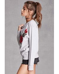 Forever 21 - Gray Jetbang Embroidered Sweatshirt - Lyst