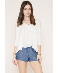 Forever 21 | Blue Drawstring Chambray Shorts | Lyst