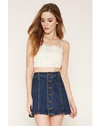 Forever 21 - White Embroidered Crochet Cropped Cami - Lyst