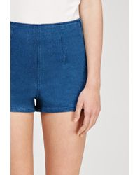 Forever 21 - Blue High-waisted Denim Shorts - Lyst