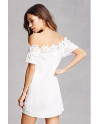 Forever 21 | White Lace Trim Off-the-shoulder Dress | Lyst