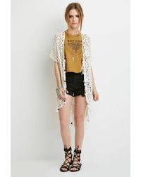 Forever 21 - Natural Beaded Tassel Crochet Cardigan - Lyst