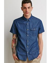Forever 21 | Blue Micro Print Pocket Shirt for Men | Lyst
