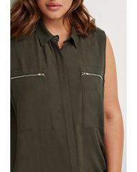 Forever 21 - Green Plus Size Zipper-pocket Top - Lyst