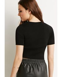 Forever 21 | Black Contemporary Ribbed Crop Top | Lyst