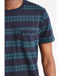 Forever 21 - Blue Geo-striped Pocket Tee for Men - Lyst