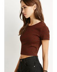 Forever 21 - Black Micro-stripe Ribbed Tee - Lyst