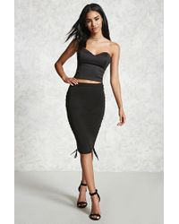 Forever 21 - Black Lace-up Bodycon Skirt - Lyst