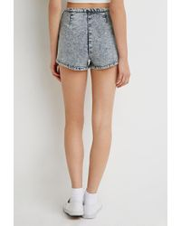 Forever 21 - Blue Acid Wash Flat-front Shorts You've Been Added To The Waitlist - Lyst