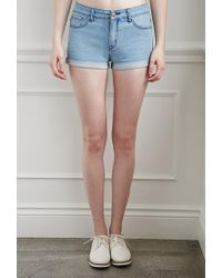 Forever 21 | Blue Cuffed Denim Shorts | Lyst
