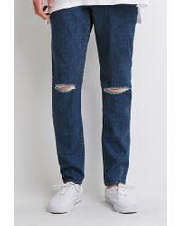 Forever 21 | Blue Ripped Skinny Jeans for Men | Lyst