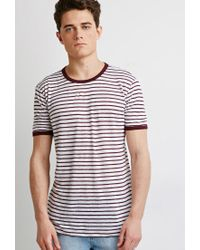 Forever 21   Purple Striped Linen Ringer Tee You've Been Added To The Waitlist for Men   Lyst