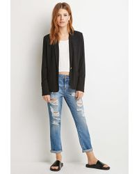 Forever 21 - Black Contemporary Single-button Knit Blazer - Lyst