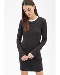 Forever 21 - Black Honeycomb-quilted Sweater - Lyst