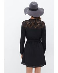 Forever 21 | Black Contemporary Floral Lace Belted Dress | Lyst