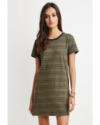 Forever 21 | Green Cutout-back Striped T-shirt Dress | Lyst