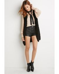 Forever 21 - Black Contemporary Shaggy Knit Longline Vest - Lyst