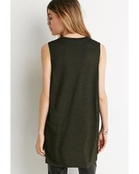 Forever 21 - Green Longline Space Dye Top - Lyst