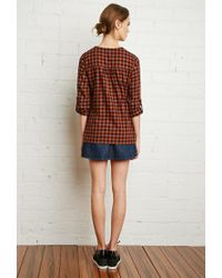 Forever 21 - Orange Plaid Lace-up Shirt - Lyst