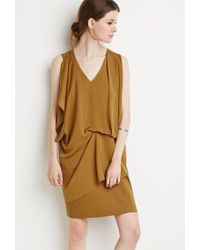 Forever 21 - Brown Drapey Shift Dress - Lyst