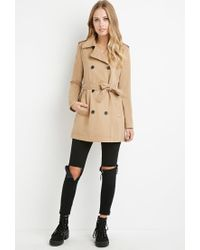 Forever 21 - Natural Double-breasted Trench Coat - Lyst