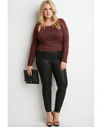 Forever 21 - Purple Metallic Knit Crop Top - Lyst
