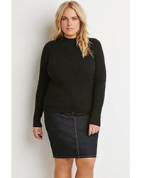 Forever 21 - Black Plus Size Ribbed Mock Neck Sweater - Lyst